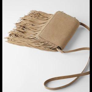 Zara beige neutral suede fringed cross body bag